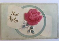 Postcard Best Wishes Felt Velvet Pink Rose Flower 1911 early 1900s old A7