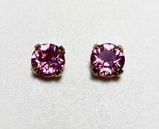 Crystal Stud Earrings Silver Or Gold Plate Fashion Rose Pink Made With Swarovski