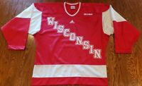 Vintage Wisconsin Badgers Adidas WCHA Red Stitched Hockey Jersey Size S Runs Big