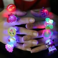 10X LED Light Up Flashing Finger Rings Party Glow Children Kids Favors Fun Toys