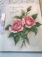 Vintage Greeting Card Get Well Hallmark Pink Roses Buds Pink Ribbon Cheer