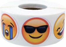 Emoji Circle Stickers, 1 Inch Round, 6 Different Faces, 500 Labels on a Roll