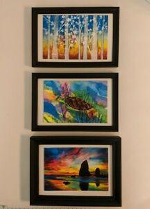 "Set of Three Prints Hailey E Herrera 6"" x 4"" Signed Colorful Solitude Sea Turtle"