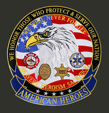 American Heroes POLICE FIREFIGHTER Protect & Serve Our Nation  13 inch  PATCH