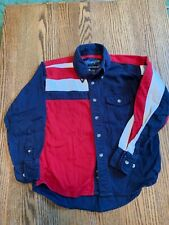 Boys long sleeve button down. Wrangler size S 5/6. Red white and blue.