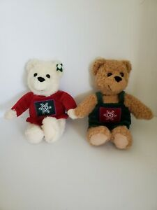 Hallmark Kiss Kiss Mistletoe Christmas  Teddy Bears Plush Stuffed Magnetic