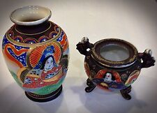 Two Antique Japanese Satsuma Small Vases Gold Moriage Japan