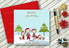 PERSONALISED CHRISTMAS CARD FROM ALL THE FAMILY & PETS GEM DETAIL STICK FAMILY