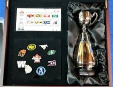 CFL CANADA POST 100th ANNIVERSARY COMMEMORATIVE SILVER GREY CUP, MEDALION, PINS,