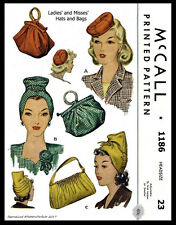 VTG McCALL # 1186 Unique Millinery Fascinator Hats Fabric Sew Pattern Bag Purse