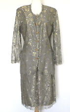 Carlisle 3pc Gold tone Lace Long Sleeve Jacket/Top/Skirt Size 14(Fits US 10)