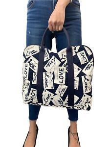 YVES SAINT LAURENT Vintage Logo Tote Bag Top Handle Navy White