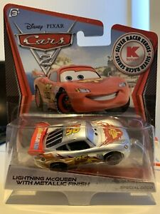 Disney Pixar Cars Lightning McQueen Metallic Silver Racers Die Cast Mattel