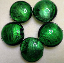 Handmade Round Pendant Beads ~30mm - 5 Pieces  -  Emerald Jewel & 925 Silver