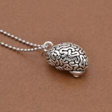 Metal Anatomical Brain Bead Pendant Necklace Jewelry Chain Charm Unisex Decor