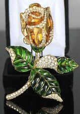 ANTIGUO picci 18ct Oro Amarillo Citrino Peridoto Diamante Redondo Flor Broche