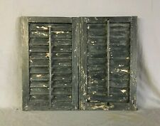 Small Pair 14x23 Antique House Window Wood Louvered Black Shutters VTG  165-19B