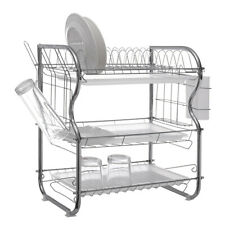 Dish Drainer Drying Rack 3 Tier Stainless Steel Kitchen Cutlery Holder Shelf US