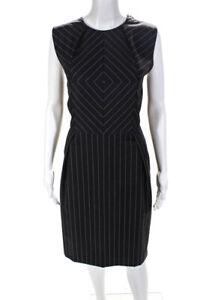 Bottega Veneta  Womens Wool Stripe Print Sleeveless Dress Purple Size 42