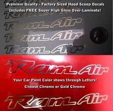 Trans Am Ram Air Hood Scoop Decals SET X2 OUTLINE ONLY CHROME OR GOLD, Laminated