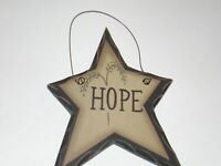 Primitive Carved look Star HOPE Willow Tree Country Home decor Wall or ornament
