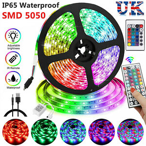 5050 RGB LED STRIP LIGHTS  COLOUR CHANGING TAPE USB / BATTERY / UK PLUG LIGHTING