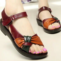 Women  Comfort Ladies Shoes Leather Knot Sandals Summer Sandal Shoes