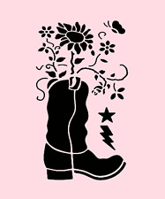 COWBOY BOOT STENCIL SUNFLOWER FLOWERS WESTERN TEMPLATE PAINT NEW BY STENSOURCE