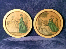 2 Vintage Round Framed Victorian Godey Girl Pictures,, In Mint Condition
