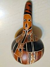 """HAND CARVED 4 3/4"""" HAND CARVED GOURD, PERUVIAN FOLK ART FLUTE PLAYER & A 3"""" BOWL"""