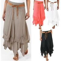 Womens Boho Skirt Gypsy Maxi Tiered Long Asymmetric Hitched Hem Cotton Festival