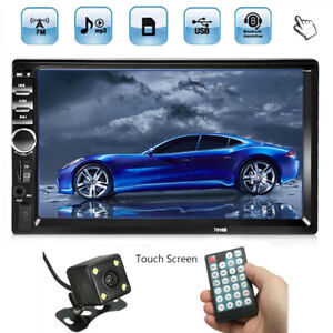 2 DIN 7'' Touch Screen Double Head Unit Car MP5 MP3 Stereo Player bluetooth FM