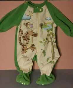 Baby Disney Store Feece Tigger Pajama Footies 0-3 Month Green Classic Pooh Warm