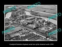 OLD LARGE HISTORIC PHOTO CASTLEFORD YORKSHIRE ENGLAND AERIAL VIEW OF WORKS 1950