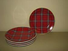 New WILLIAMS SONOMA TARTAN PLAID SALAD PLATES SET of 4 red Christmas & Tartan Dinnerware Plates | eBay