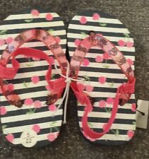 bn GIRLS SIZE 4 PINK CHERRY DESIGN FLIPFLOPS WITH ELASTICATED BACK