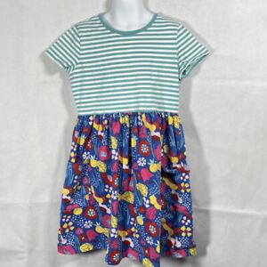 Girls HANNA ANDERSSON BLUE WHITE Opposite Stripe FLORAL SKIRT S/S DRESS 140 9 11