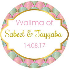 PERSONALISED, WEDDING WALIMA, NIKAH STICKERS,GLOSSY  SEALS LABELS,PINK & MNT