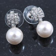 Boda Nupcial/Graduación/Diamante 10mm Blanco, Pendientes con Perla de Imitación en Rodio