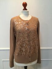 PURE COLLECTION Ladies 100% Pure CASHMERE sand beige sequinned cardigan UK 18