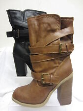 Women's Mid-Calf Block Buckle Synthetic Boots