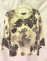 WOMEN'S JONES NEW YORK MULTICOLOR FLORAL 3/4 SLEEVE STRETCHY SWEATER TOP SIZE M