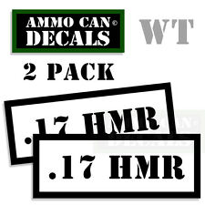 17 HMR Ammo Decal Sticker Set Can Box bullet ARMY Gun safety Hunting 2 pack WT
