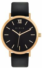 WOMENS MENS FASHION DRESS WATCH 100% LEATHER BAND ROSE GOLD BLACK ANALOG 5ATM