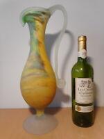 Aiguière verseuse vase soliflore pate de verre multicouche signé