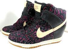 Nike 585560-001 Dunk Sky Hi Prem Linen Purple Tribal Wedge Sneakers Women's 8.5