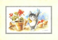 B98684 cat chat painting postcard d lebeau flower  animaux animals