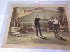 "MORRIS & BOCK'S POWER OF MONEY / ""I AM HERE""  Circa 1884 Theater Poster"