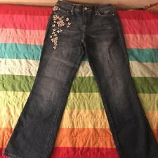 Gitano Blue Floral Embrodery Boot Cut Denim Jeans Size 10
