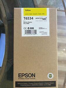 GENUINE EPSON T6534 Yellow 200ml ink cartridge Stylus Pro 4900